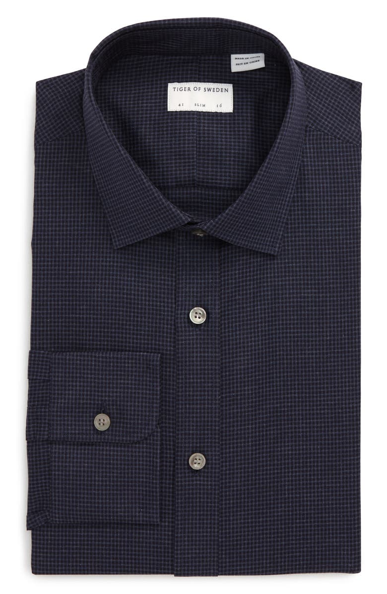 TIGER OF SWEDEN Slim Fit Houndstooth Dress Shirt, Main, color, NAVY