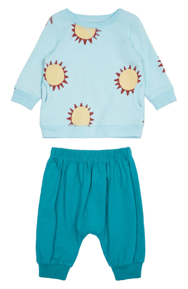PEEK ESSENTIALS Harlow Sunshine Sweatshirt & Jogger Pants Set, Main, color, LIGHT BLUE
