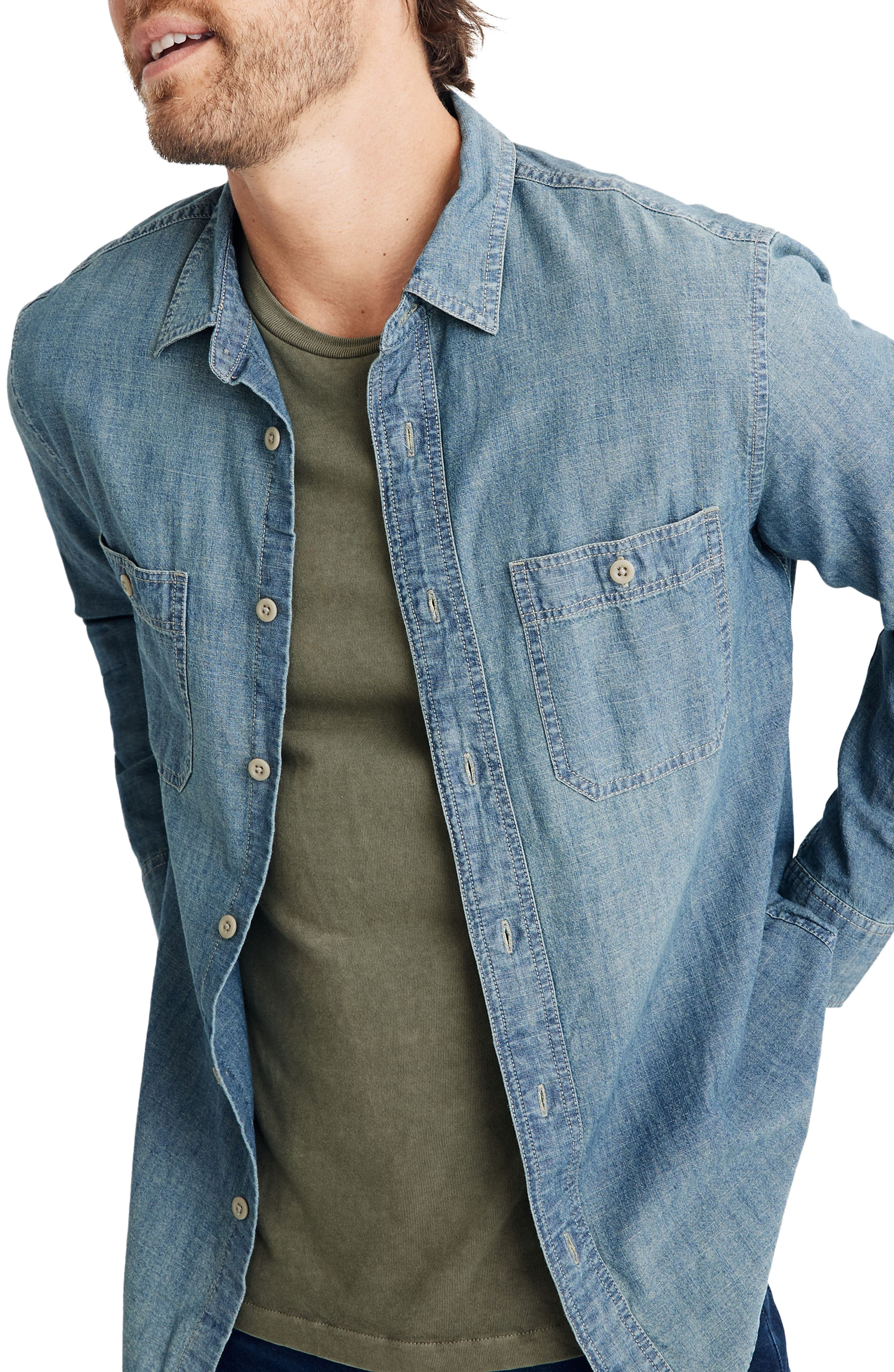 Men's Vintage Workwear – 1920s, 1930s, 1940s, 1950s Mens Madewell Winterdale Chambray Shirt $79.50 AT vintagedancer.com