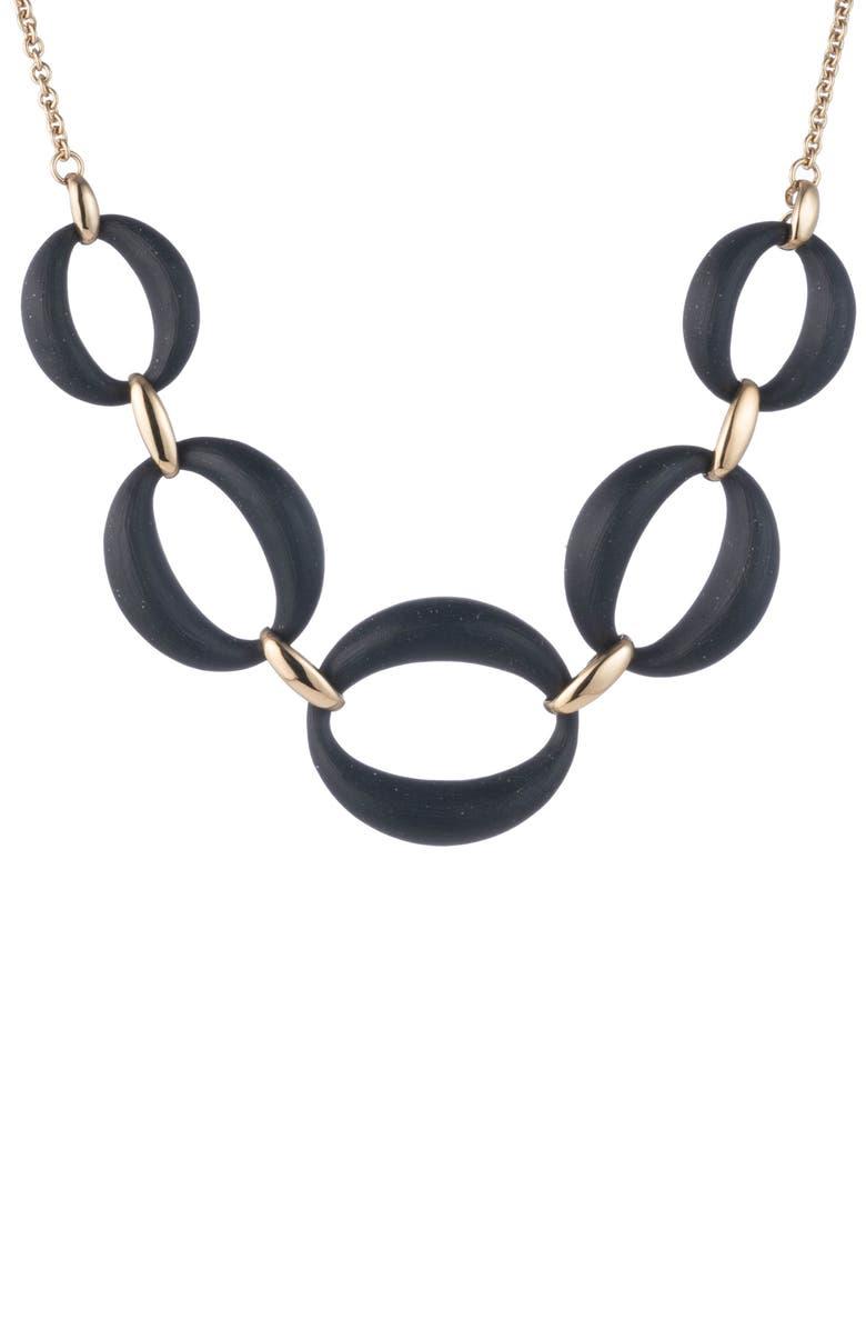 ALEXIS BITTAR Essentials Large Lucite<sup>®</sup> Link Necklace, Main, color, BLACK