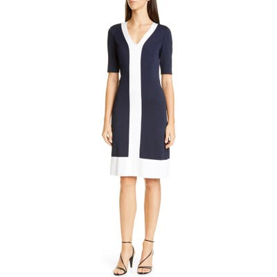 St. John Collection Colorblock Milano Knit Sheath Dress, Blue