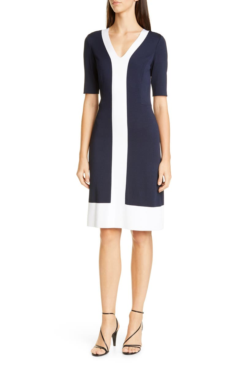 ST. JOHN COLLECTION Colorblock Milano Knit Sheath Dress, Main, color, NAVY/ WHITE
