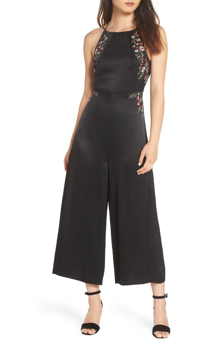 EVER NEW Embroidered Satin Jumpsuit, Main, color, BLACK