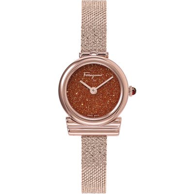 Salvatore Ferragamo Gancini Holiday Capsule Mesh Strap Watch, 22Mm