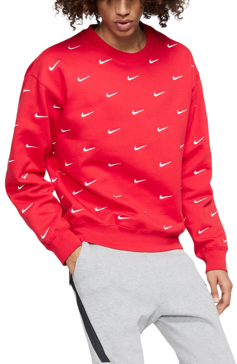 NIKE NRG Embroidered Swoosh Crewneck Sweatshirt, Main, color, UNIVERSITY RED