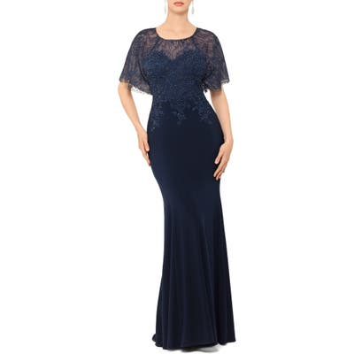 Xscape Embroidered And Bead Embellished Trumpet Evening Gown, Blue