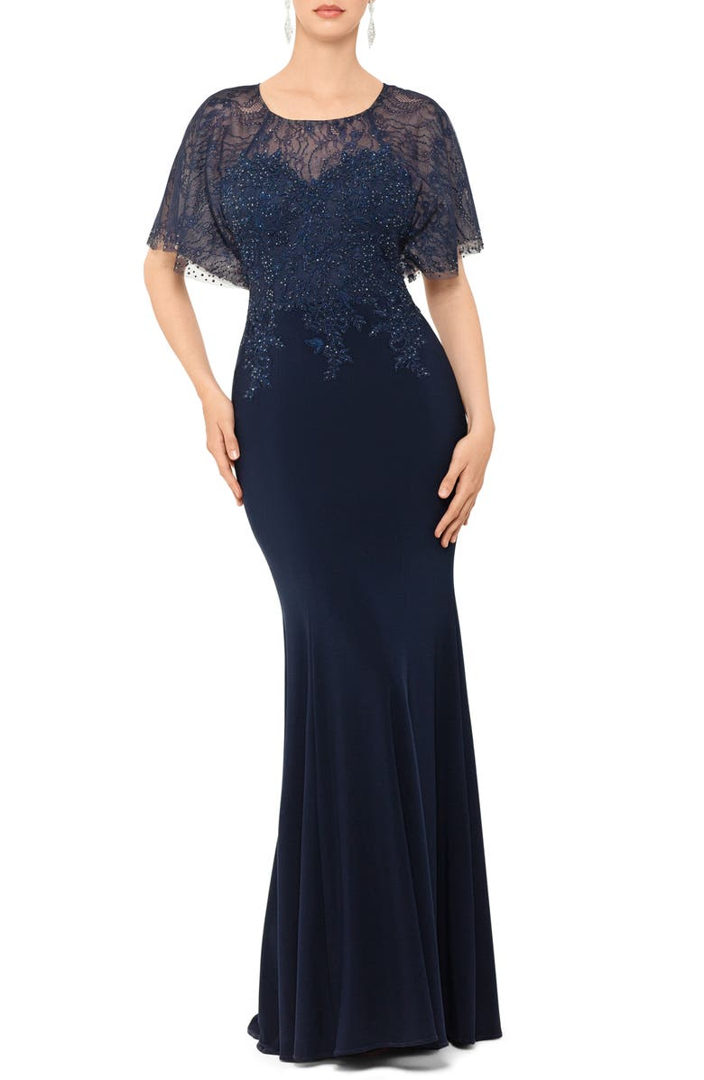 XSCAPE Embroidered and Bead Embellished Trumpet Evening Gown, Main, color, NAVY