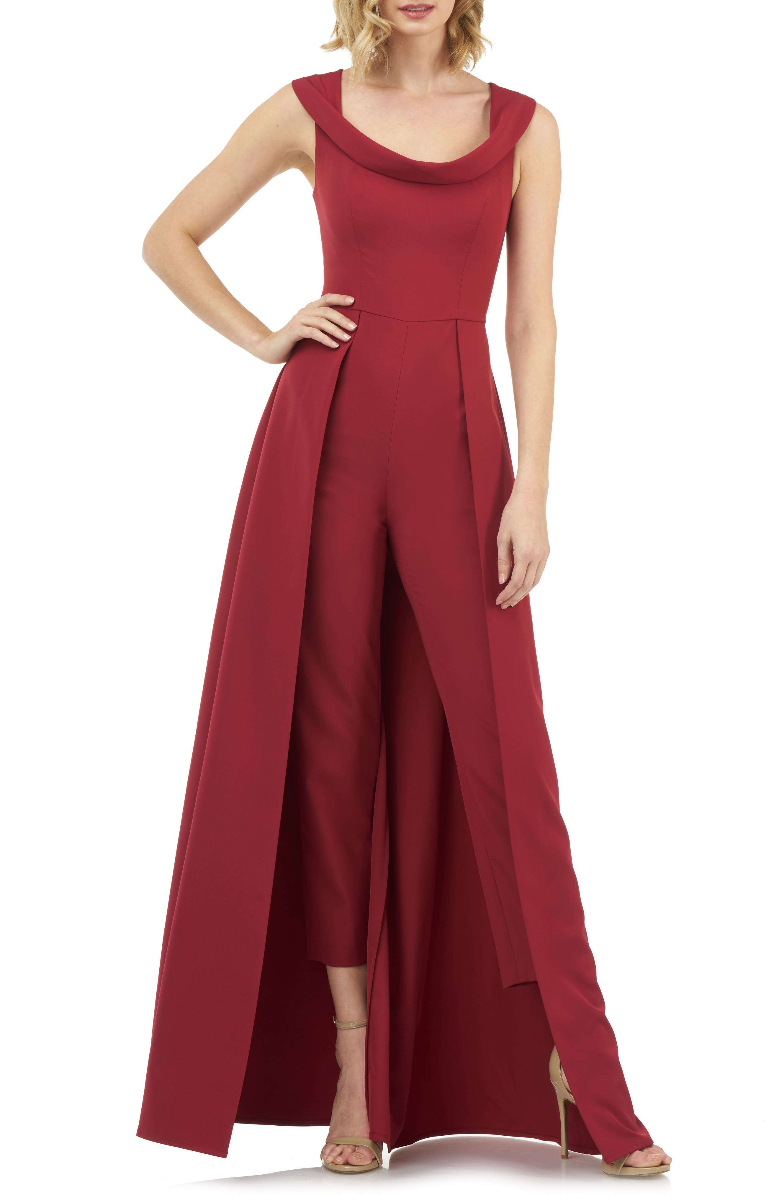Vintage Evening Dresses Womens Kay Unger Jumpsuit Gown Size 12 - Red $268.00 AT vintagedancer.com