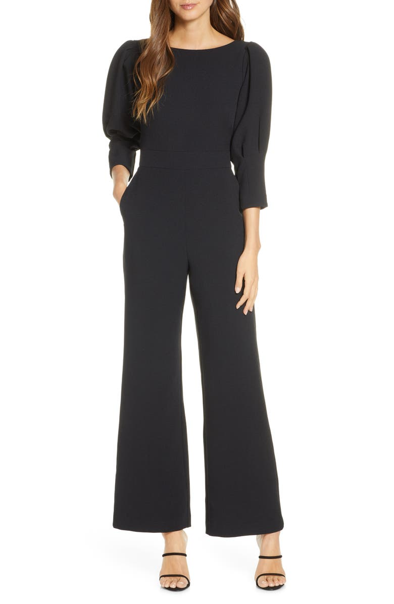 VINCE CAMUTO Puff Sleeve Crepe Jumpsuit, Main, color, BLACK