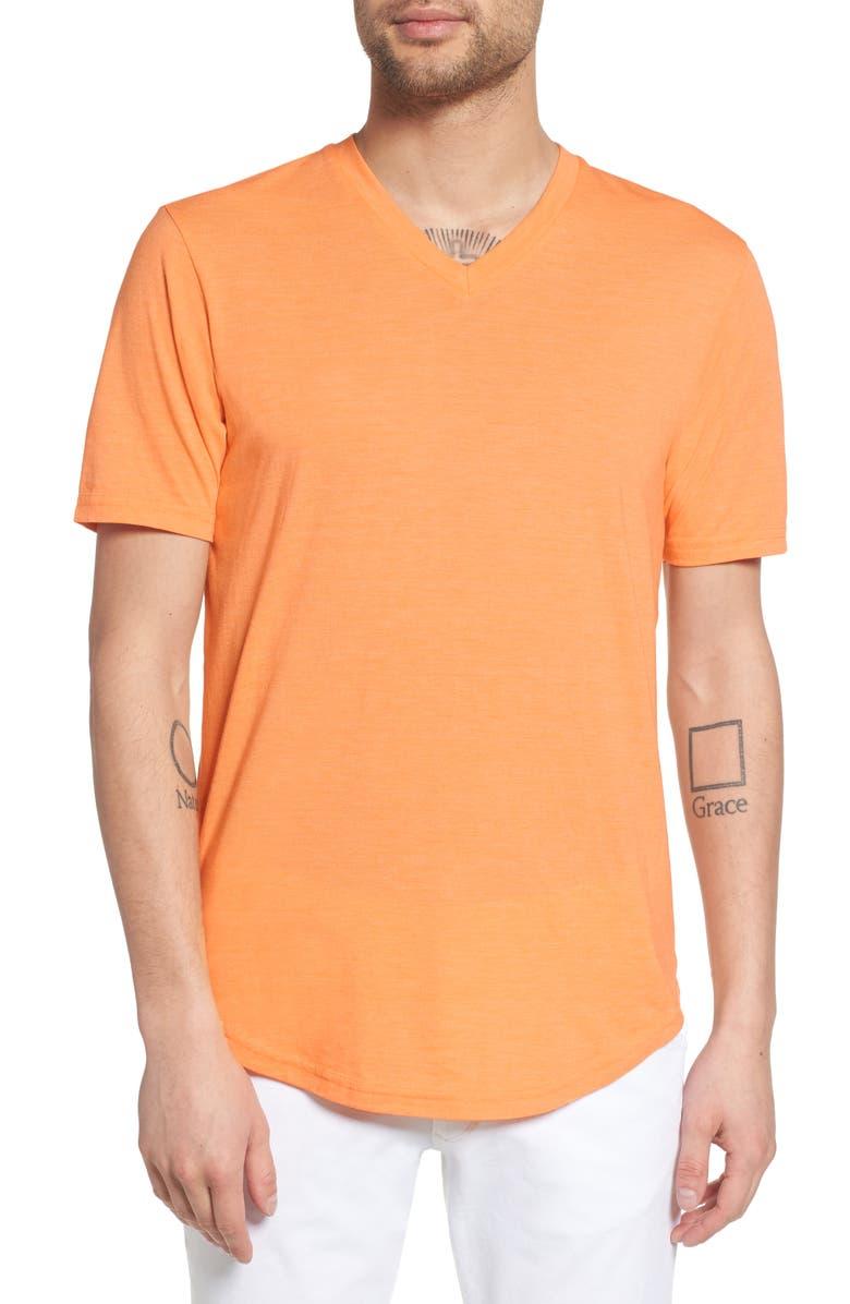 GOODLIFE Scallop Triblend V-Neck T-Shirt, Main, color, MOCK ORANGE