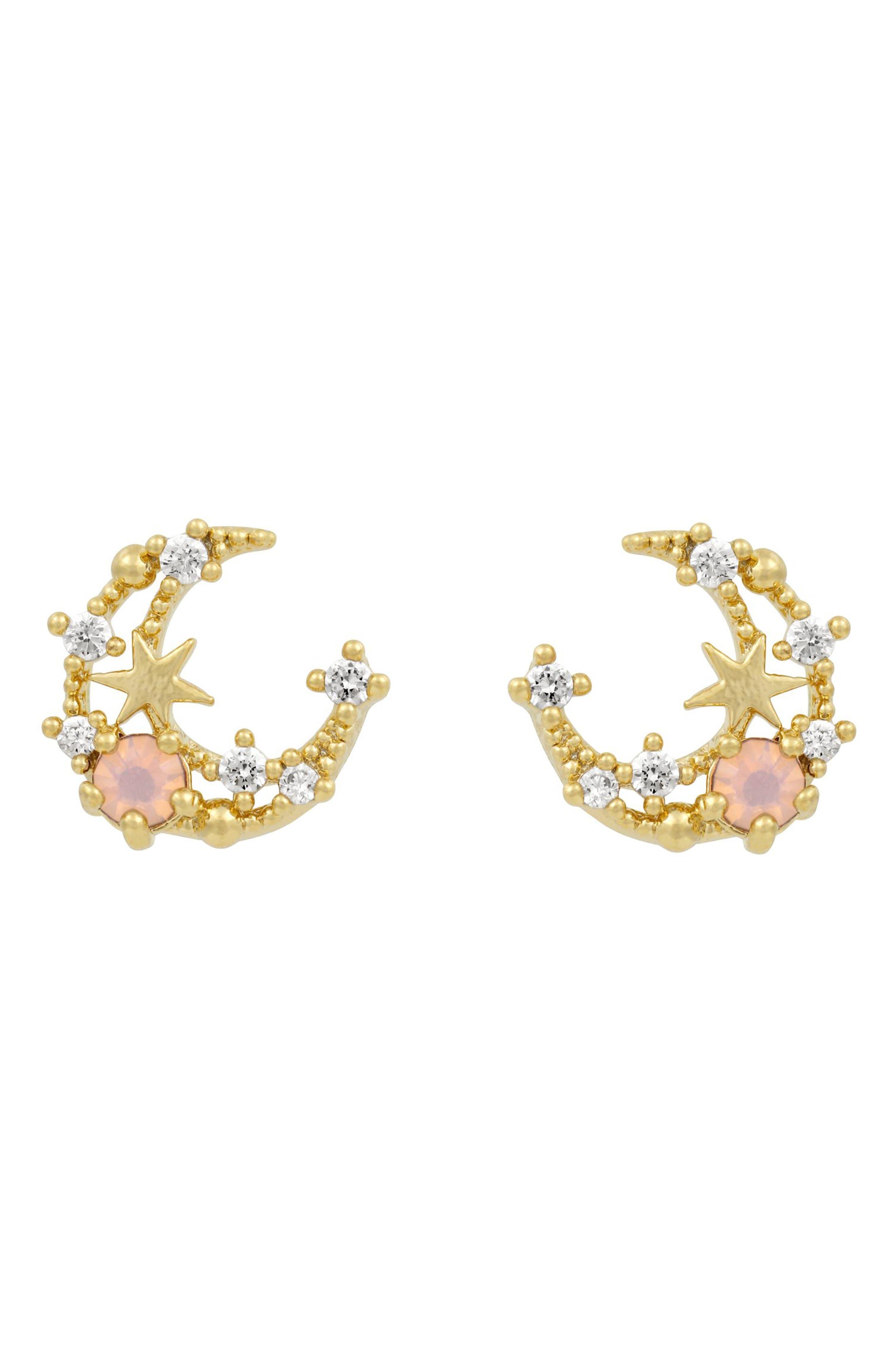 Pink Gem Moon Stud Earrings