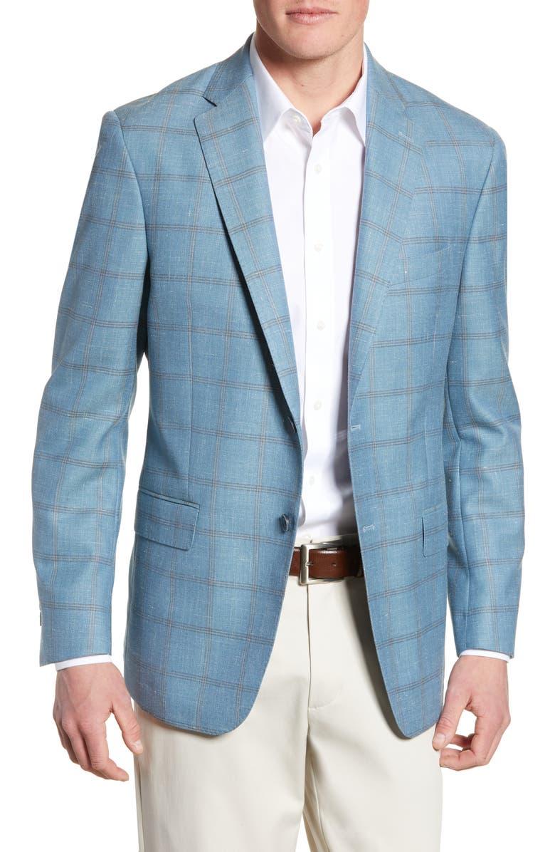 HART SCHAFFNER MARX New York Classic Fit Windowpane Wool Blend Sport Coat, Main, color, 450