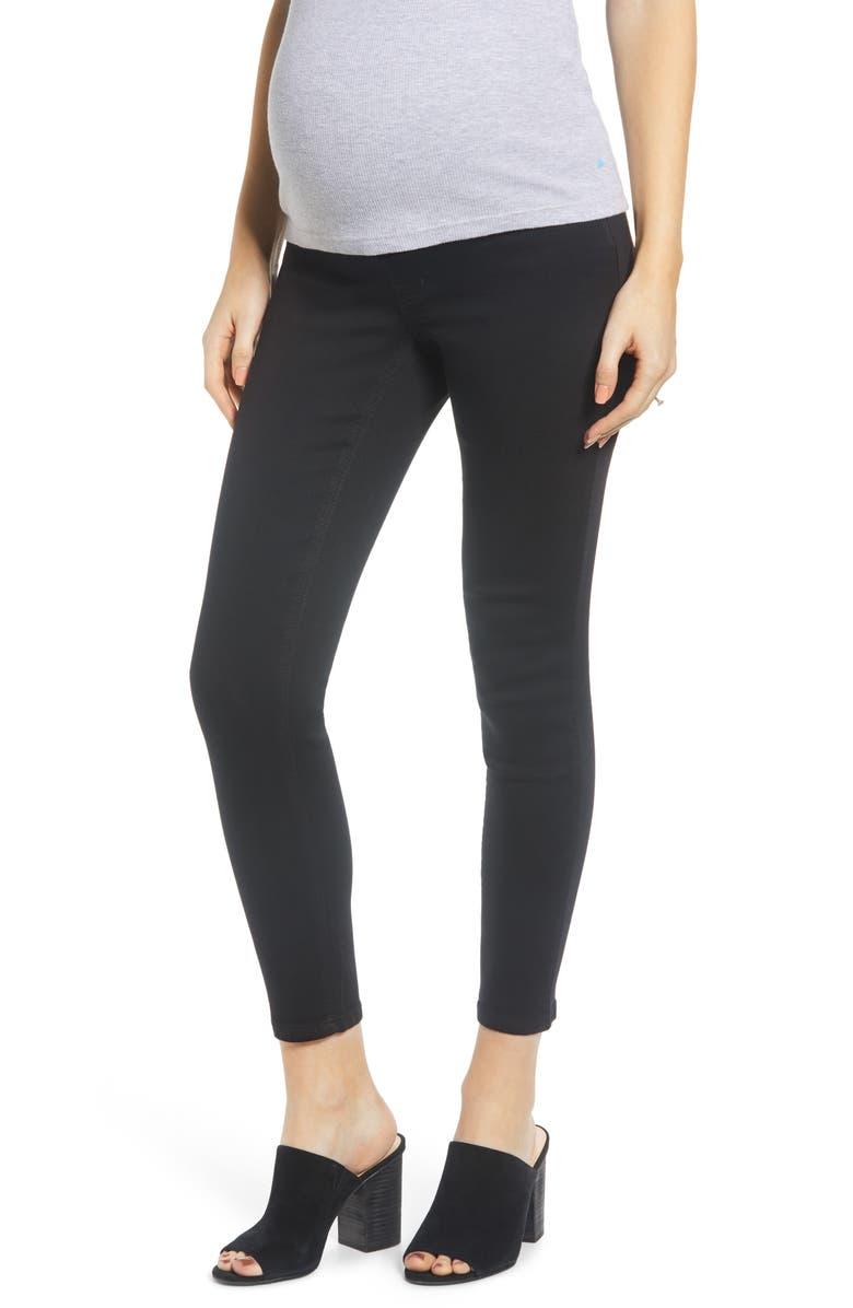 1822 DENIM Contour Ankle Skinny Maternity Jeans, Main, color, BLACK