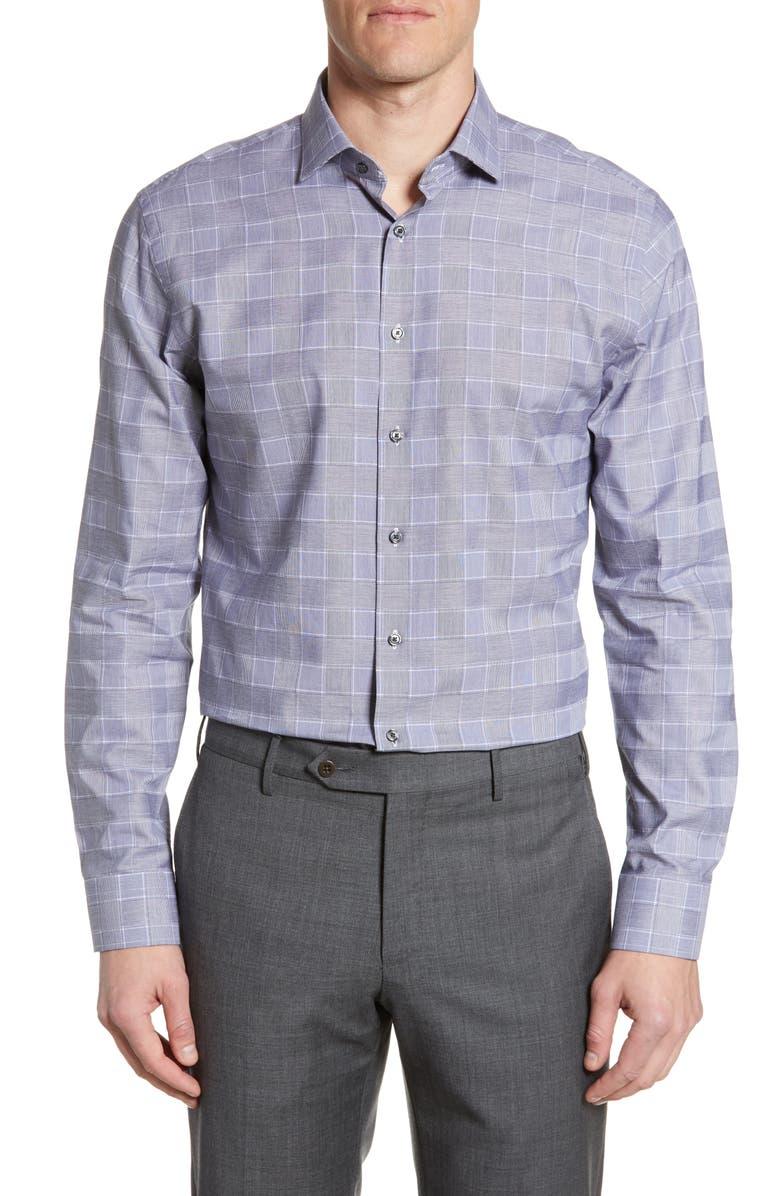 CALIBRATE Trim Fit Plaid Dress Shirt, Main, color, GREY MAGNET