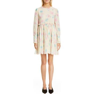 Ganni Long Sleeve Floral Print Georgette Dress, Ivory