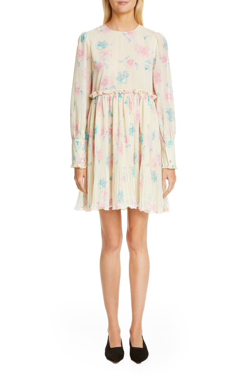 GANNI Long Sleeve Floral Print Georgette Dress, Main, color, AFTERGLOW
