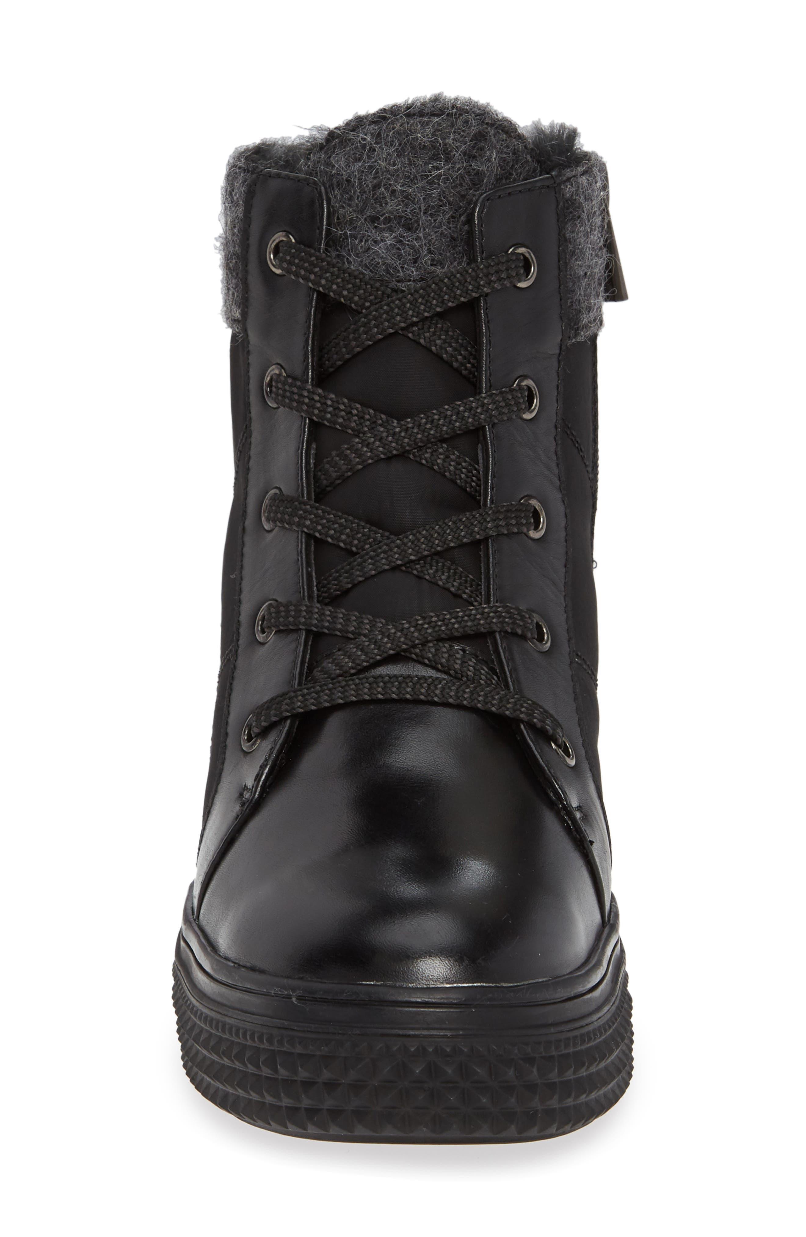 ,                             Ithaca Waterproof Sneaker Bootie,                             Alternate thumbnail 4, color,                             BLACK LEATHER