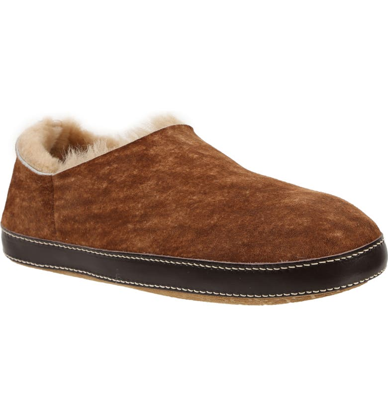 ROSS & SNOW Merlino Genuine Shearling Slipper, Main, color, STONE WASHED COGNAC