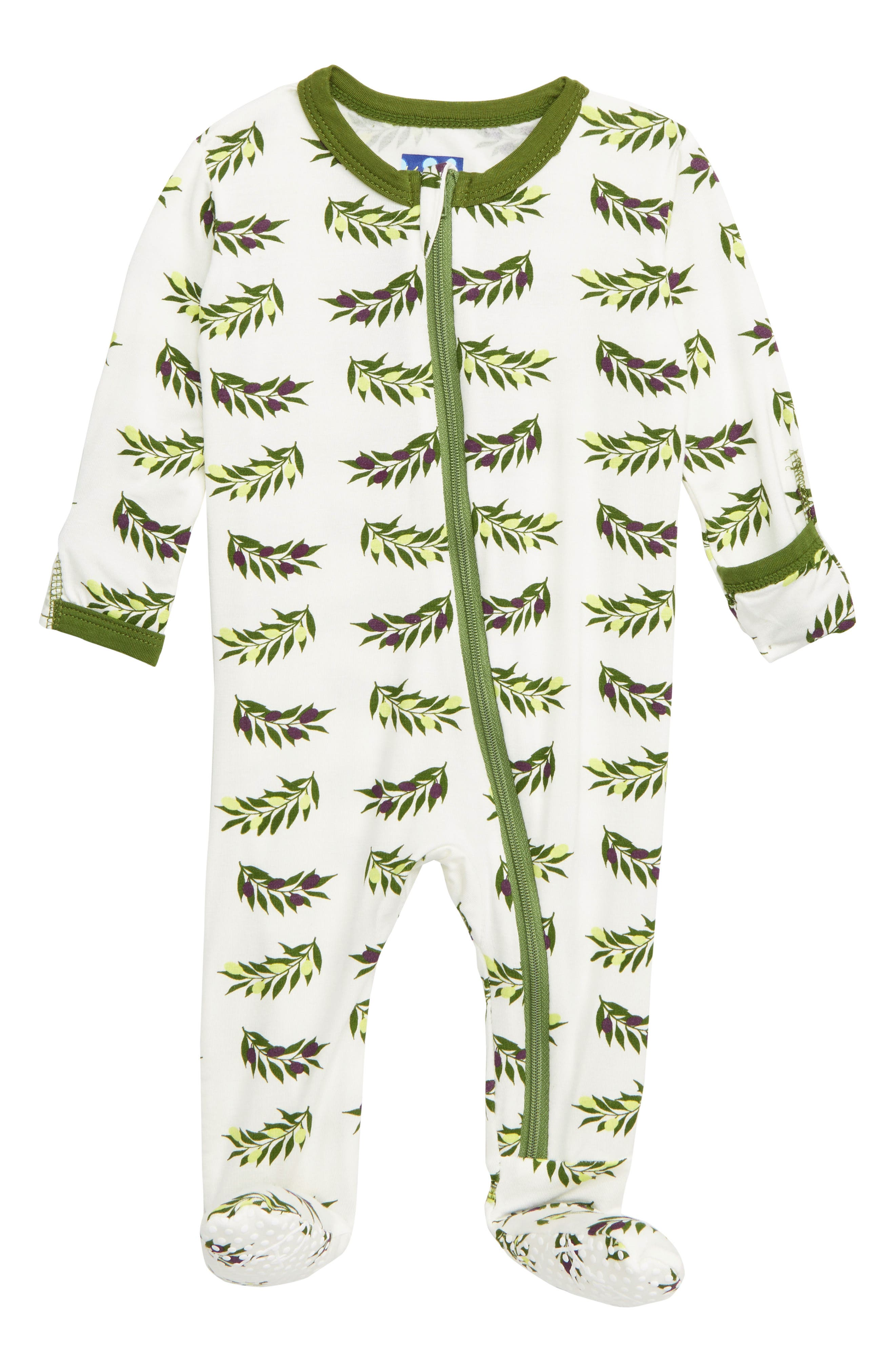 Olive Branch Print Zip Footie, Main, color, NATURAL OLIVE BRANCH