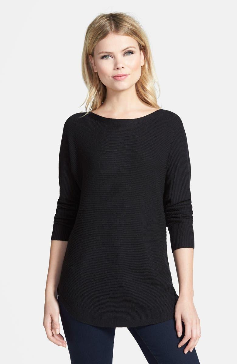 TROUVÉ Shirttail Hem Sweater, Main, color, 001