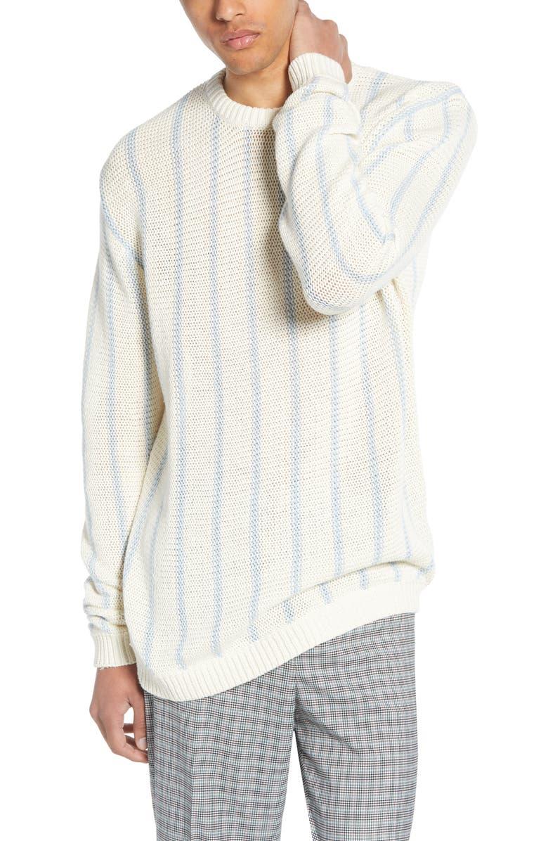 TOPMAN Chunky Stripe Sweater, Main, color, GREEN MULTI