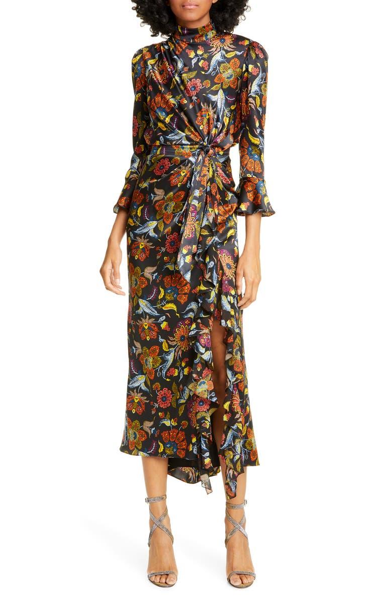 CINQ À SEPT Juliana Floral Dress, Main, color, BLACK/ MULTI