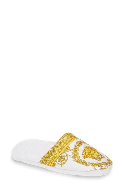 Versace I Heart Baroque Bath Slipper In White