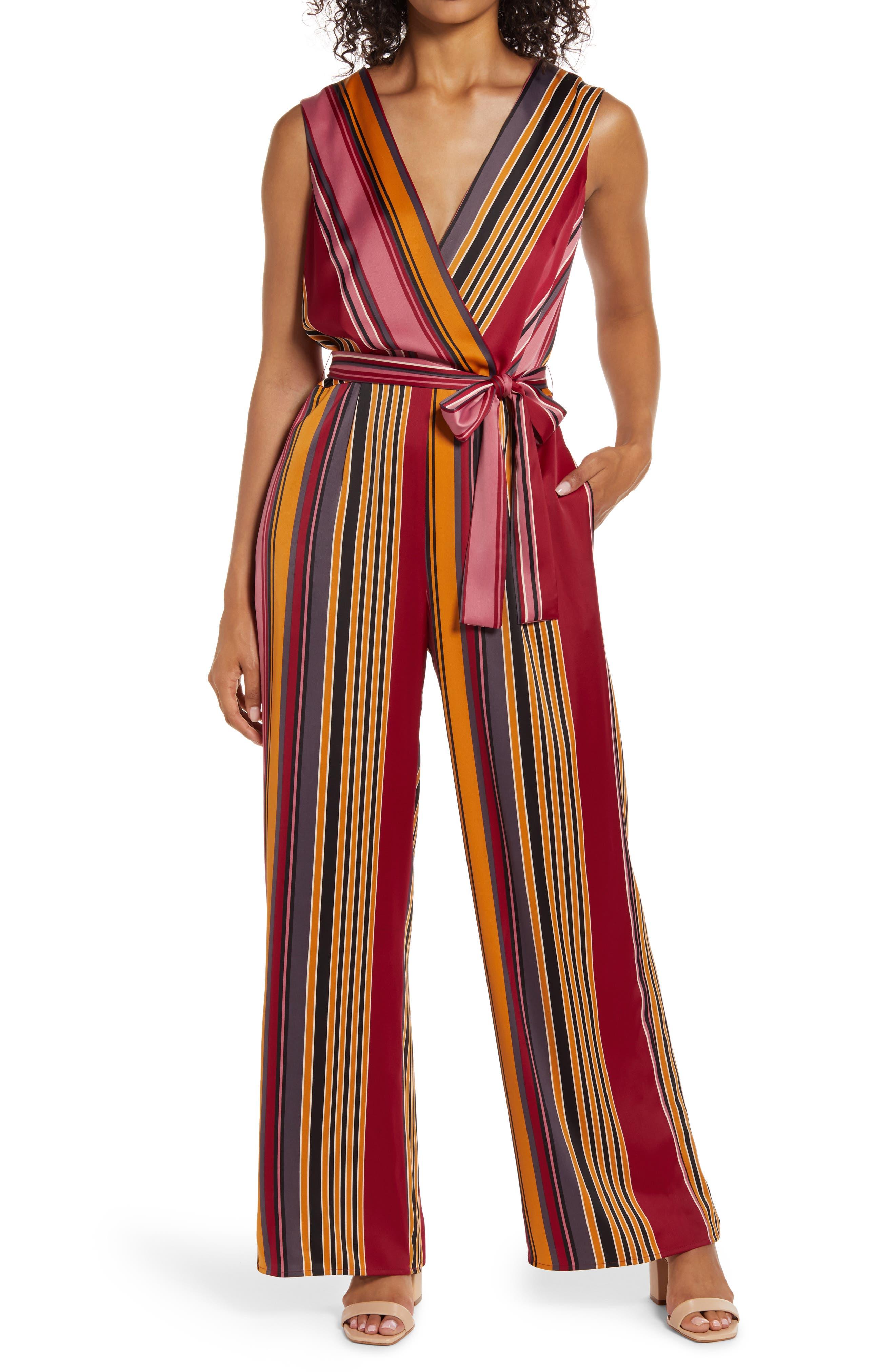70s Jumpsuit | Disco Jumpsuits, Sequin Rompers Womens Maggy London Stripe Wide Leg Jumpsuit $99.90 AT vintagedancer.com