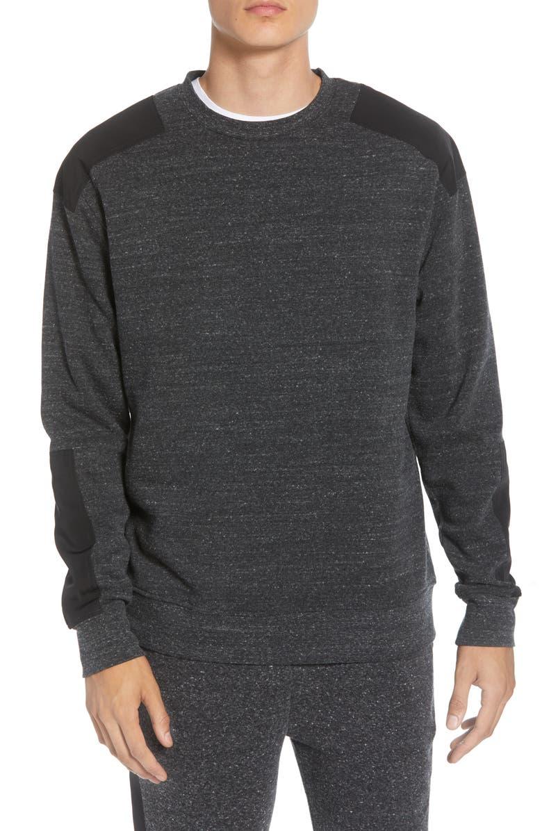 THREADS 4 THOUGHT Slim Fit Crewneck Sweatshirt, Main, color, HEATHER BLACK