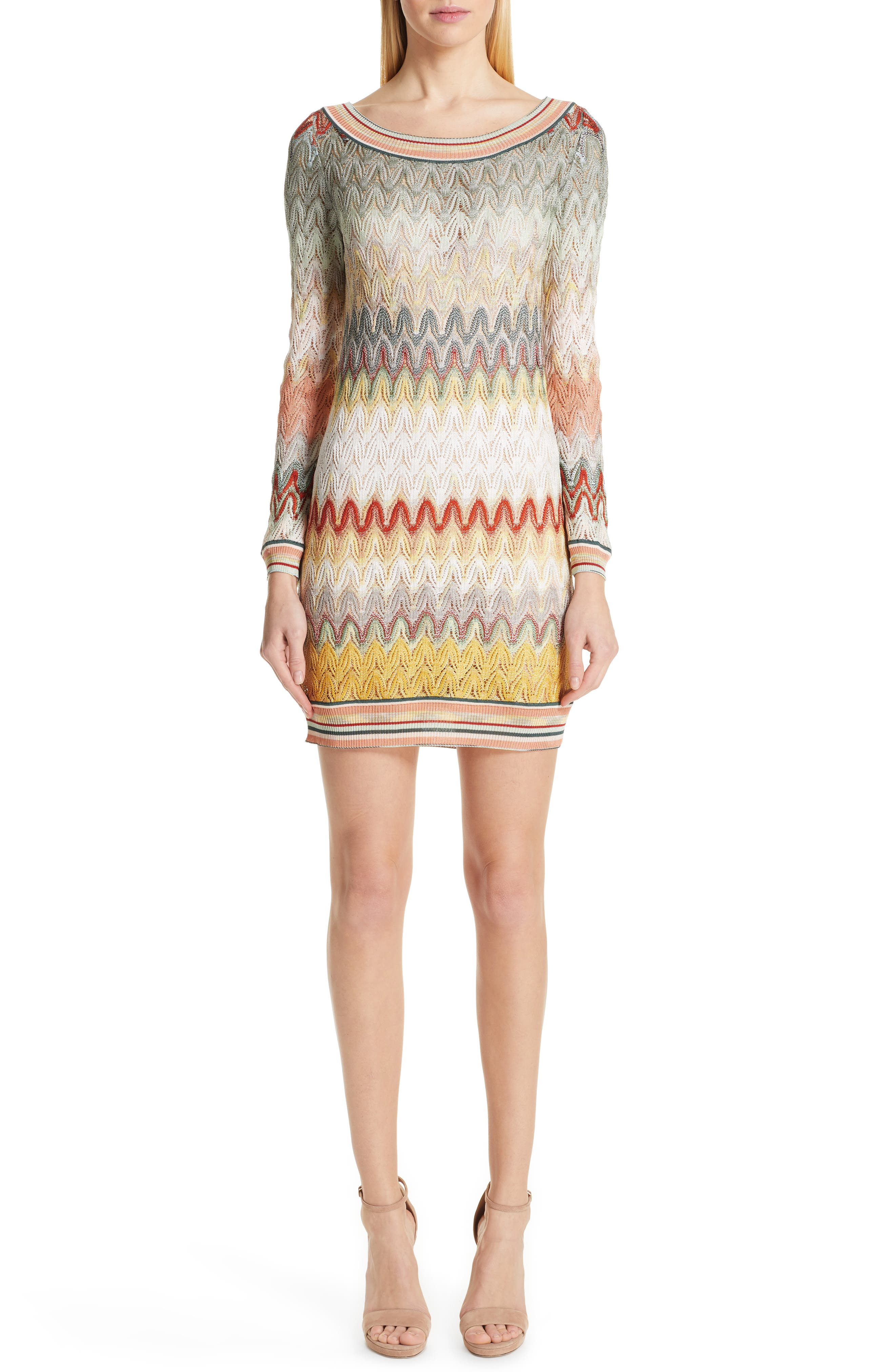 Missoni Pointelle Long Sleeve Sweater Dress, US / 48 IT - Ivory