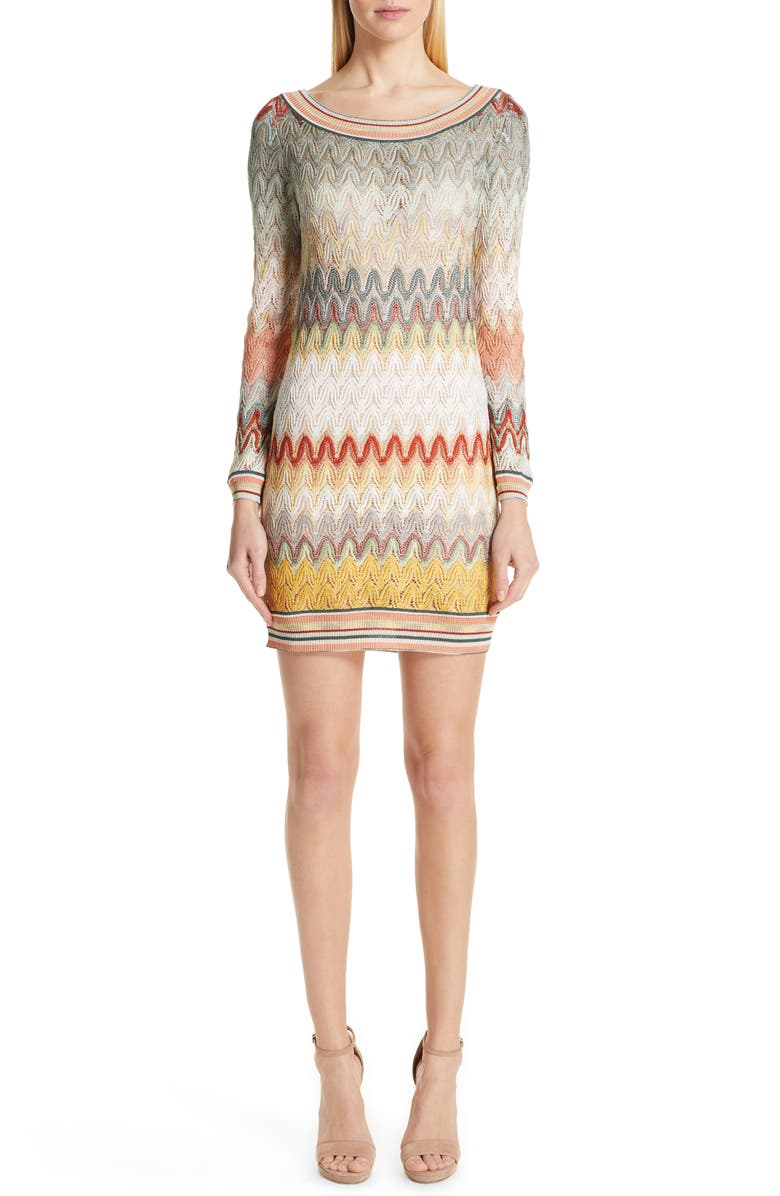 MISSONI Pointelle Long Sleeve Sweater Dress, Main, color, CREAM