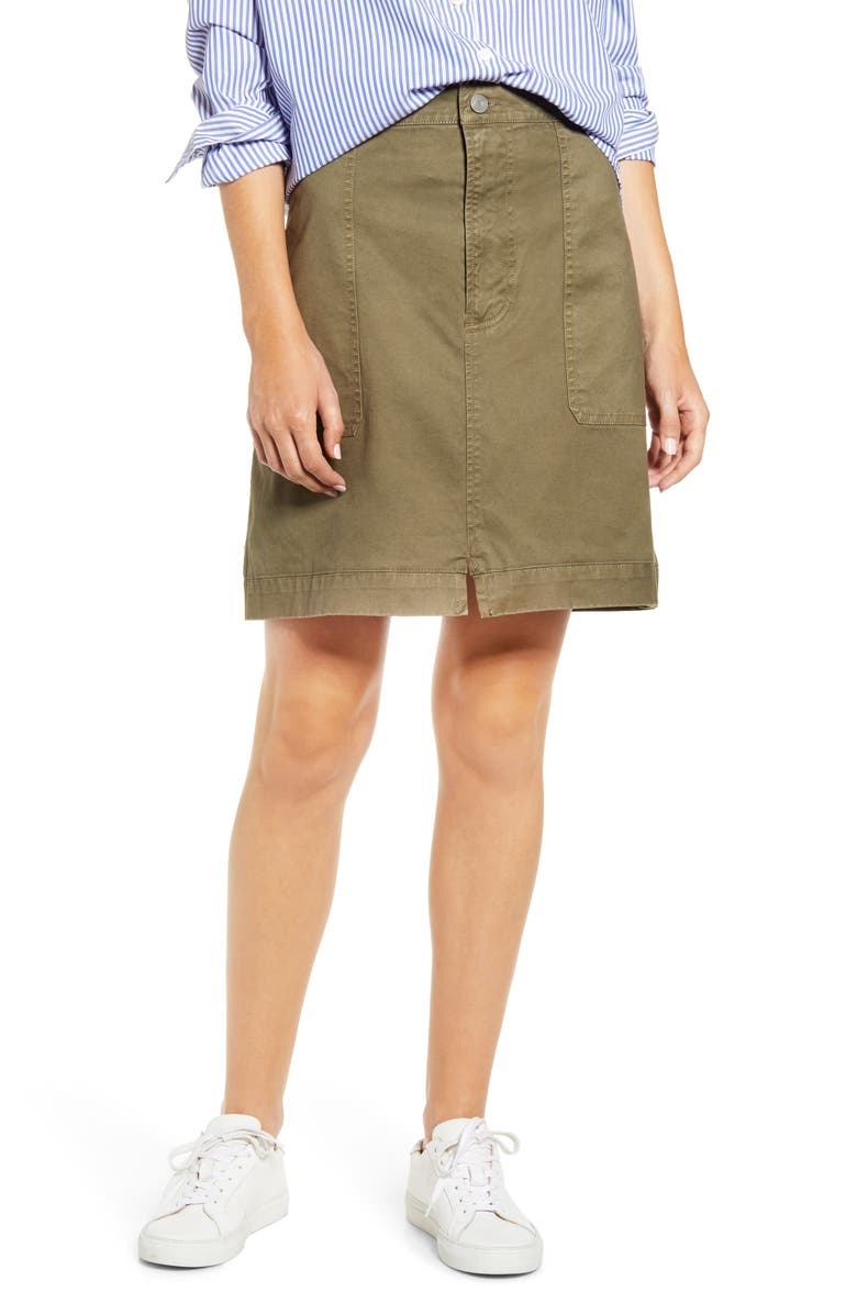 ALEX MILL Washed Twill Skirt, Main, color, ARMY