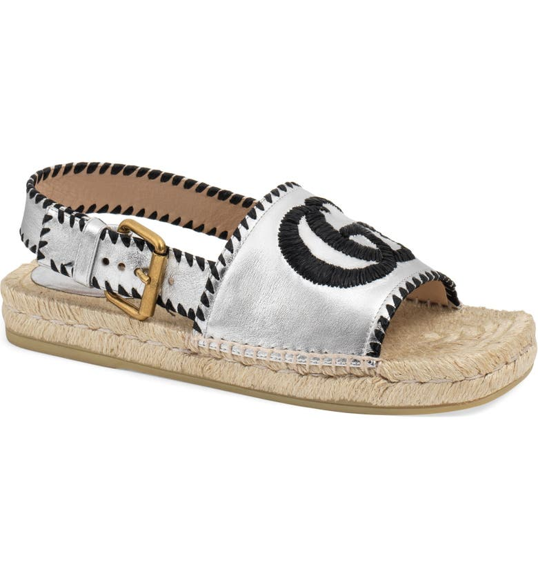 GUCCI Pilar Embroidered Double G Logo Slingback Espadrille Sandal, Main, color, SILVER