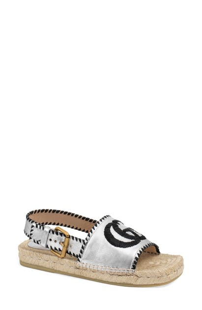 Gucci Sandals PILAR EMBROIDERED DOUBLE G LOGO SLINGBACK ESPADRILLE SANDAL