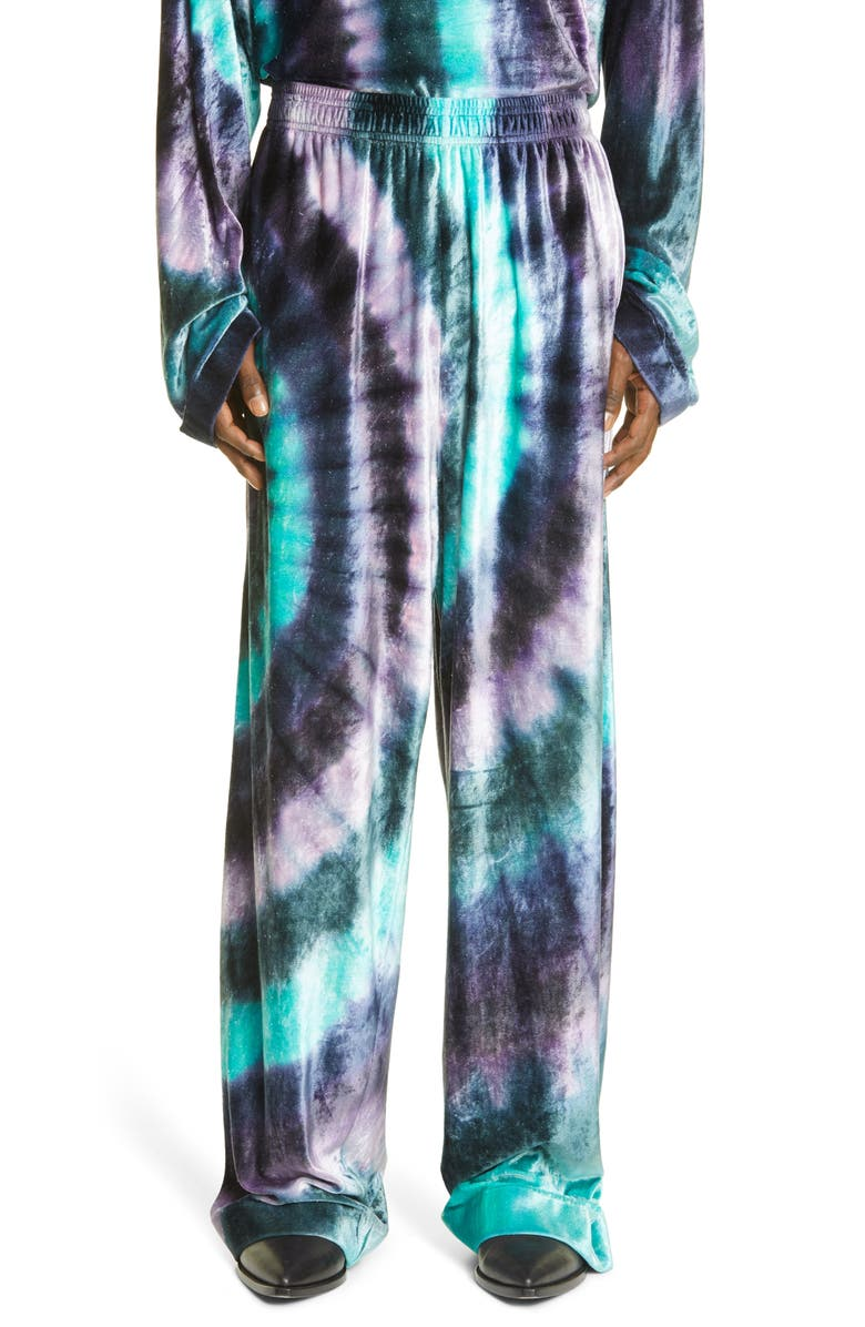 ACNE STUDIOS Pexto Tie Dye Oversize Velour Joggers, Main, color, THISTLE PURPLE