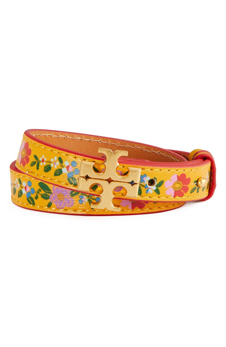 TORY BURCH Kira Floral Leather Double Wrap Bracelet, Main, color, ROLLED BRASS 59 / MULTI
