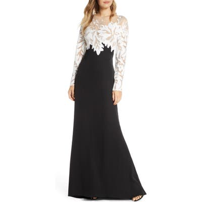 Tadashi Shoji Embroidered Long Sleeve Evening Gown, Black