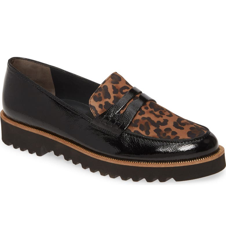 PAUL GREEN Carrie Platform Loafer, Main, color, BLACK LEOPARD COMBO