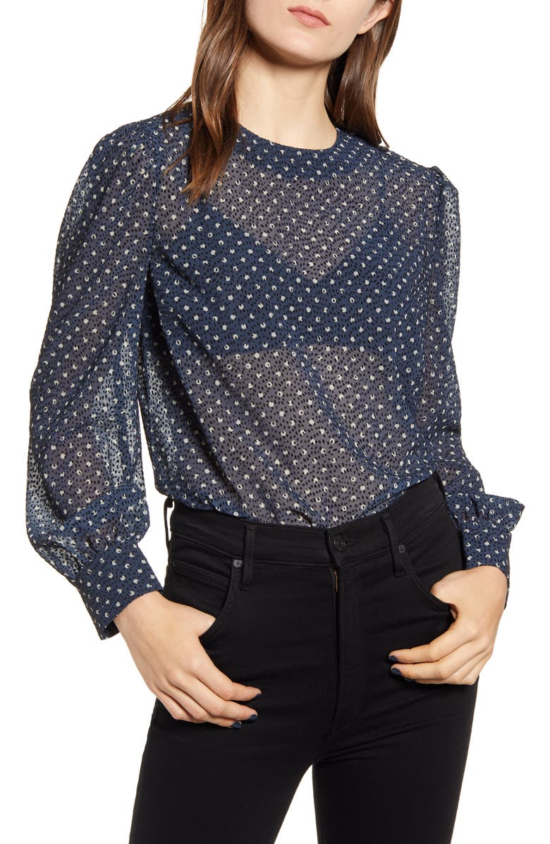 CHELSEA28 Printed Blouse, Main, color, BLUE- IVORY DOUBLE DOT