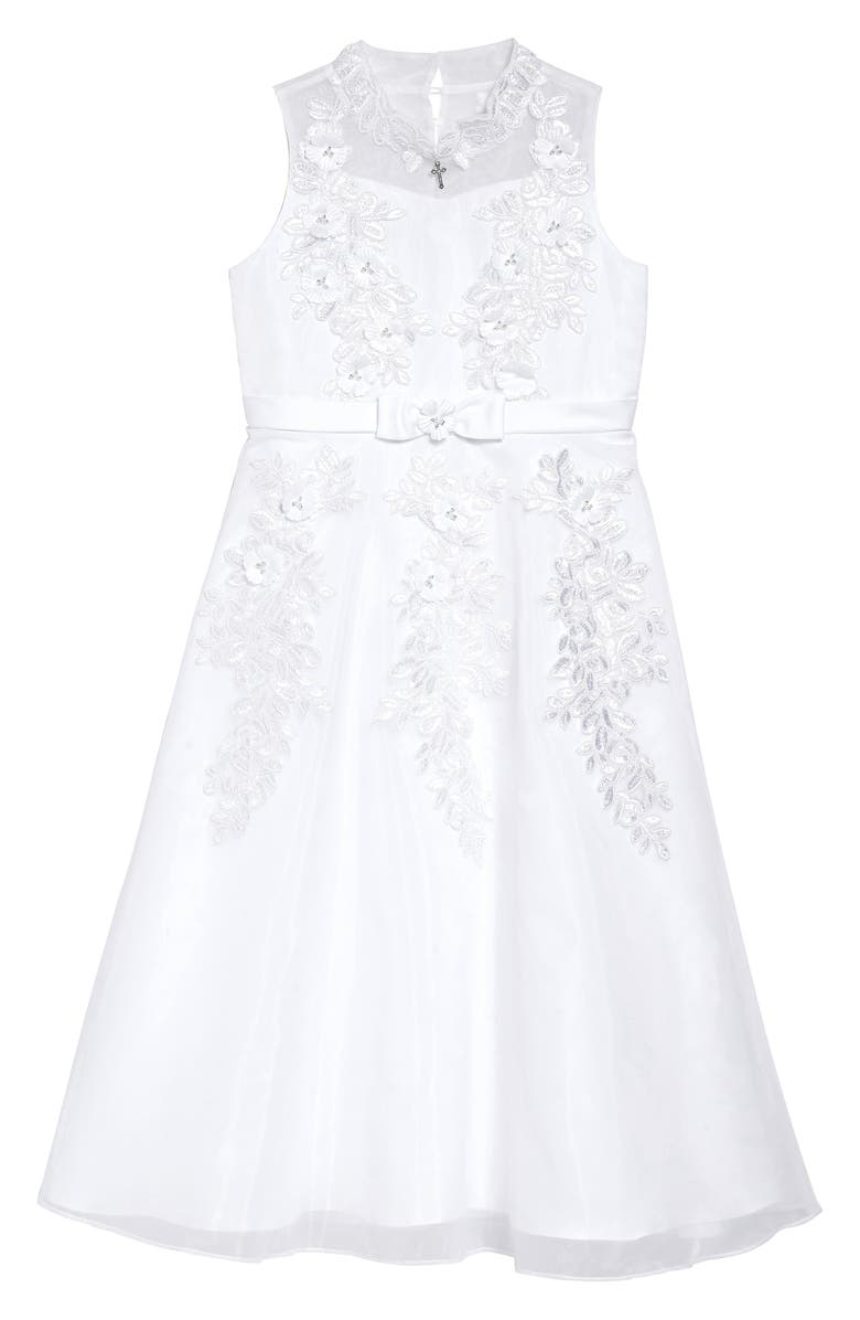IRIS & IVY Embellished Lace A-Line First Communion Dress, Main, color, WHITE