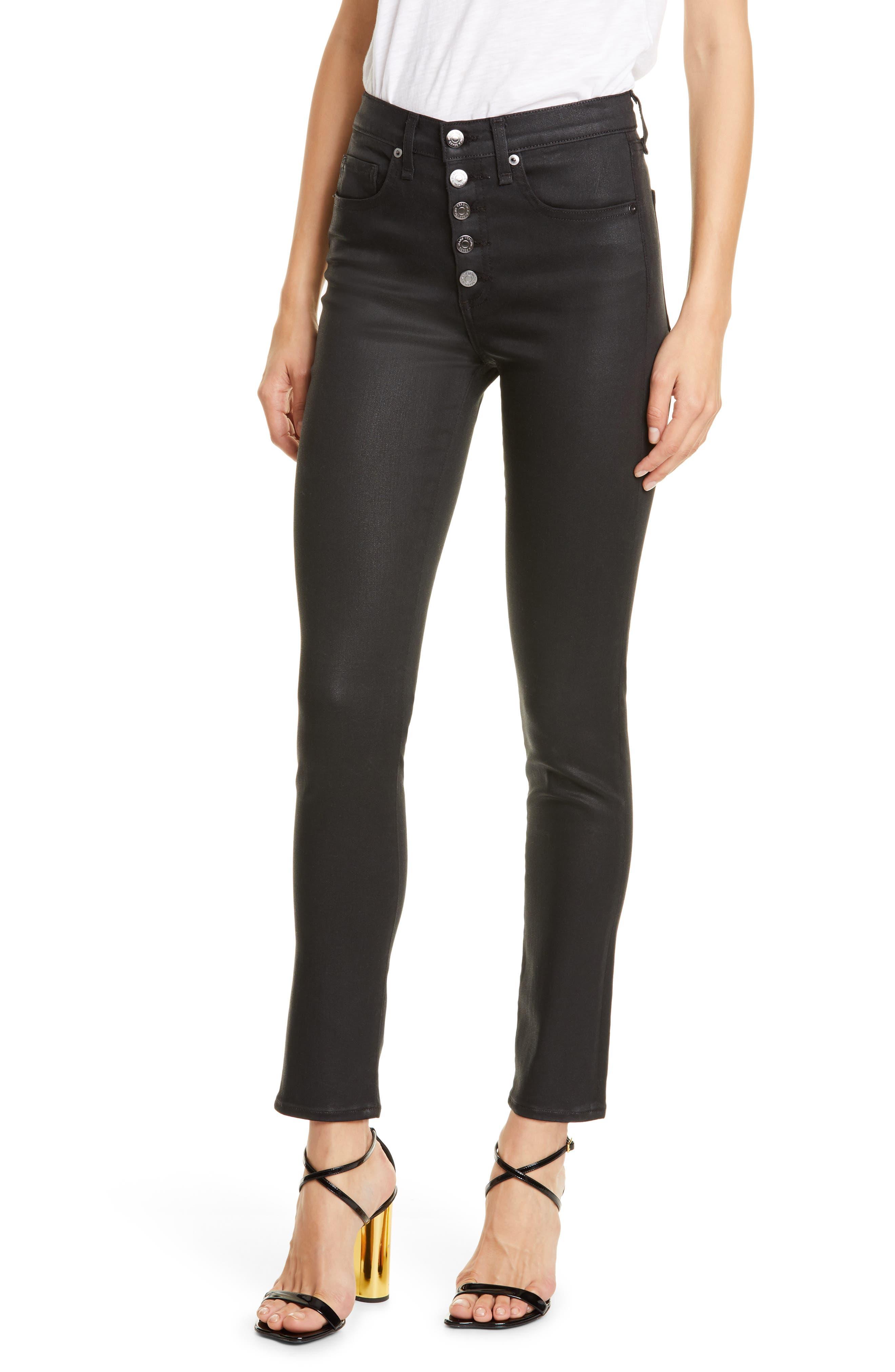 Veronica Beard Debbie High Waist Skinny Jeans (Black Coated)