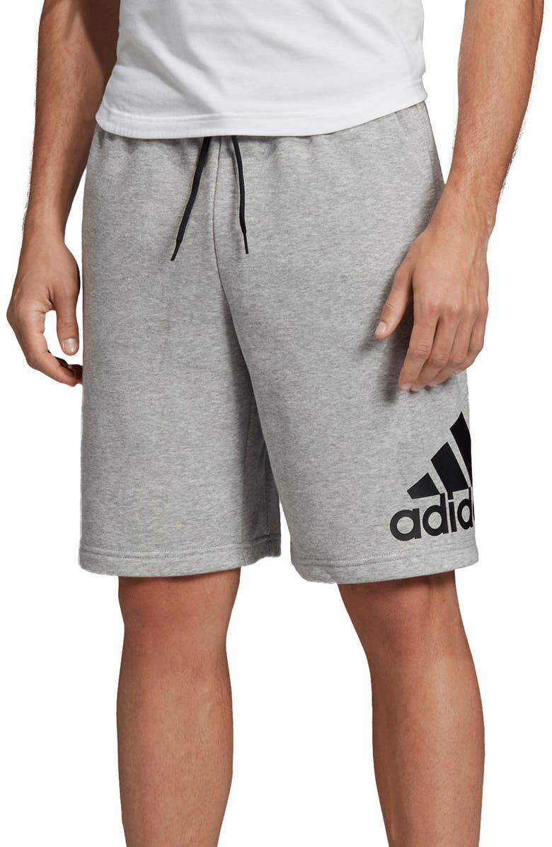 ADIDAS Badge of Sport French Terry Shorts, Main, color, MEDIUM GREY HEATHER