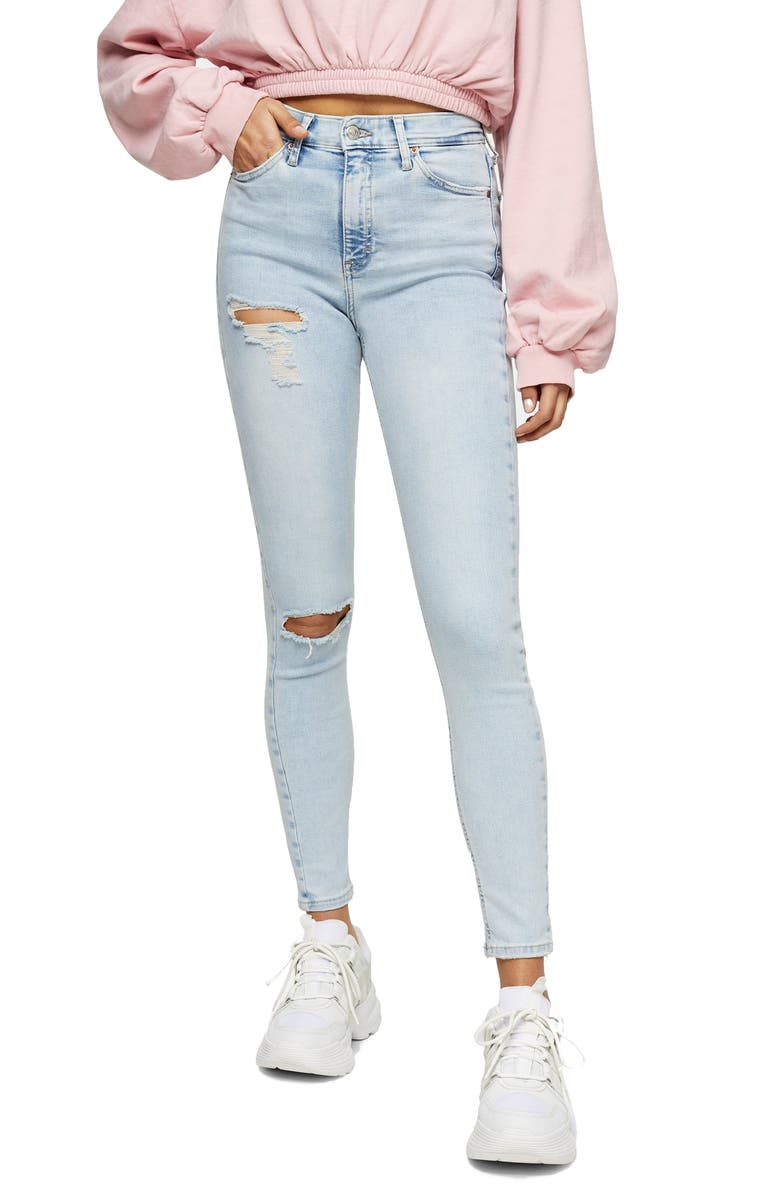 TOPSHOP Jamie Brooklyn Rip High Waist Skinny Jeans, Main, color, BLEACH
