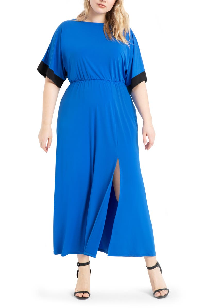 ELOQUII Dolman Sleeve Maxi Dress, Main, color, PICTION BLUE