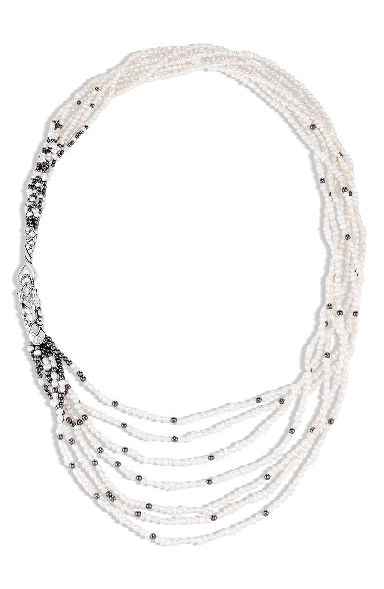 JOHN HARDY Legends Naga Multi Row Necklace, Main, color, SILVER/ PEARL