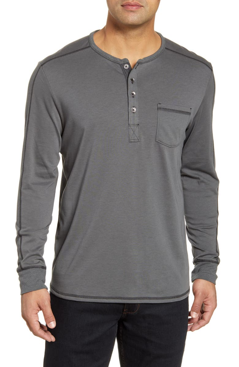 TOMMY BAHAMA San Jacinto Long Sleeve Henley, Main, color, BLACK