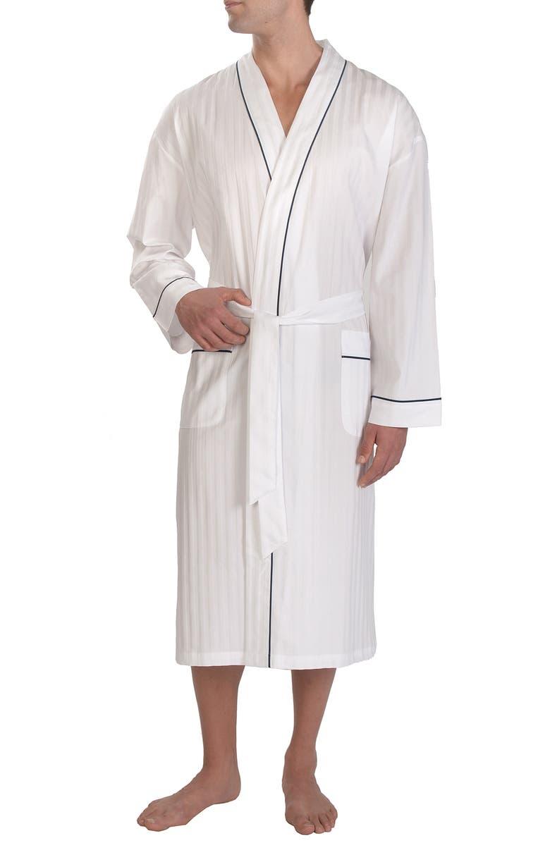 MAJESTIC INTERNATIONAL Stripe Sateen Robe, Main, color, WHITE