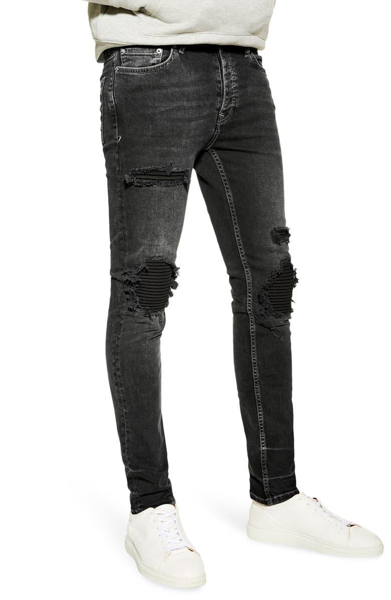 TOPMAN Biker Blowout Skinny Jeans, Main, color, WASHED BLACK