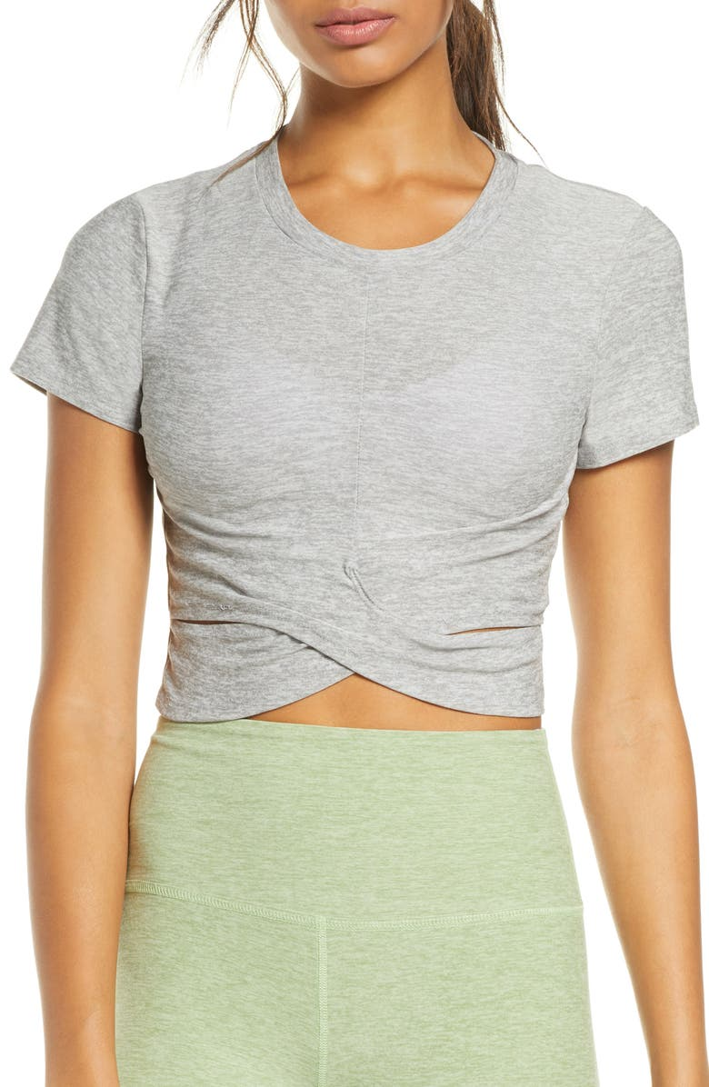 BEYOND YOGA Under Over Cropped T-Shirt, Main, color, SILVER MIST