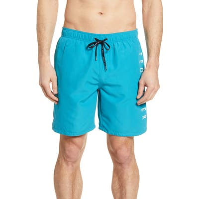 Ted Baker London Slim Fit Logo Swim Trunks, (m) - Blue